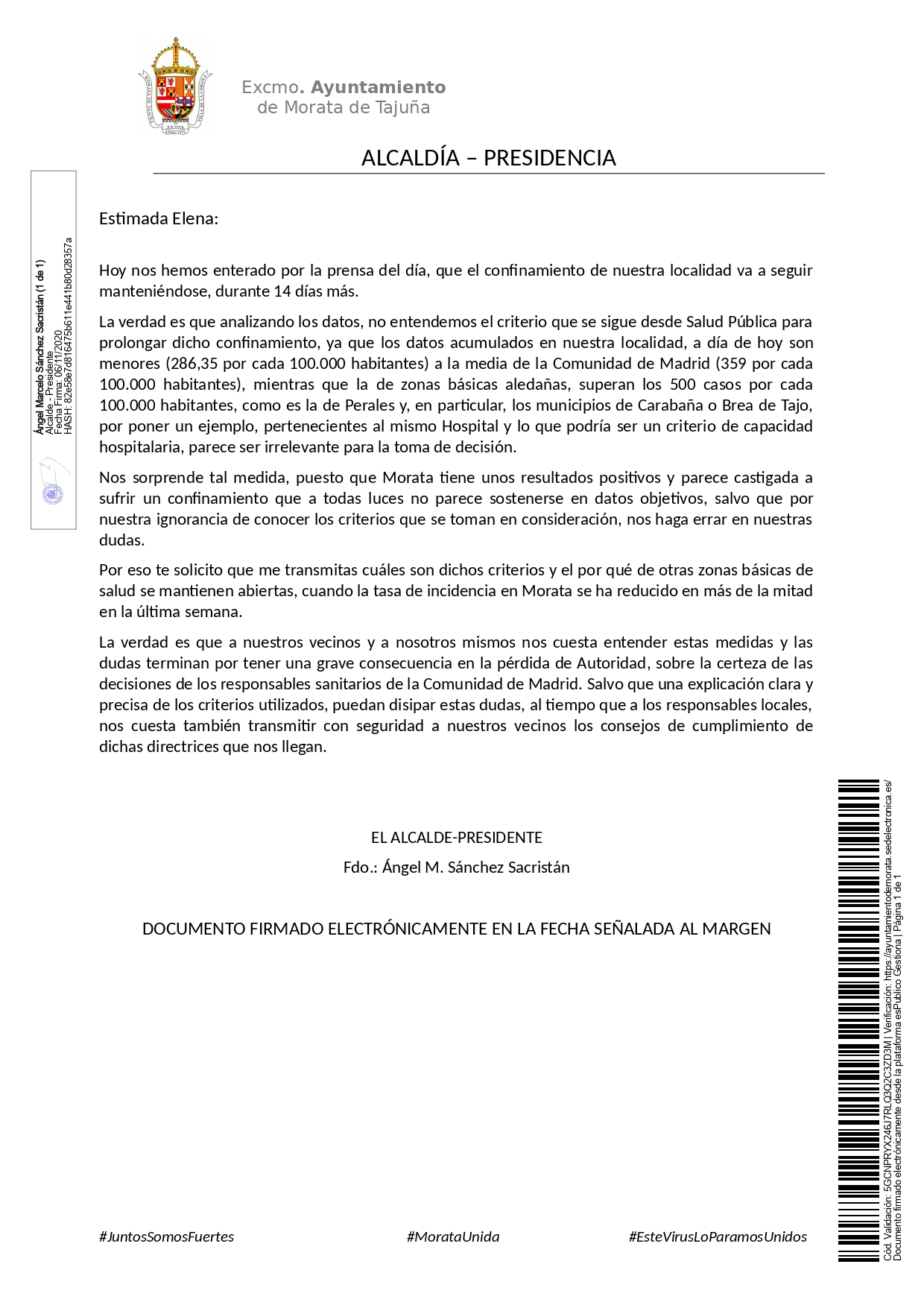 20201106 Comunicación Carta CARTA A LA DIRECTORA GENERAL DE SALUD PÚBLICA